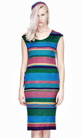 STRETCH-KNIT STRIPED DRESS