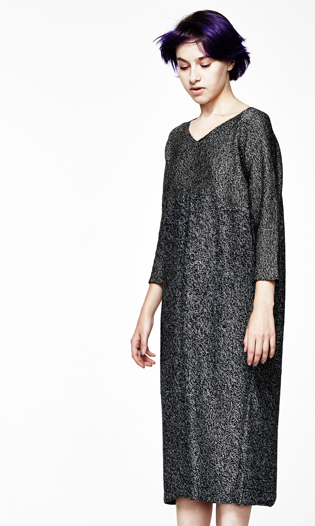 V-NECK LONG SLEEVE MELANGE DRESS
