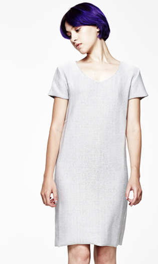 STRETCH-KNIT GREY DRESS
